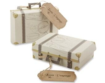 24 Mini Suitcase Vintage Wedding Favor Boxes Bon Voyage Travel Destination