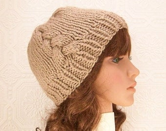 Hand knit winter hat - taupe brown knit beanie with side cable - Winter Fashion Winter Accessories Sandy Coastal Designs - ready to ship