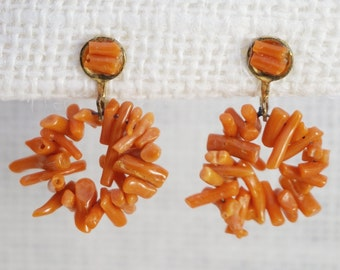 Vintage Natural Coral Branch Dangle Drop Earrings