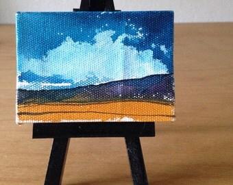 Mini Painting, Miniature Artwork, Desert Art, Watercolor Art, Watercolour Painting, Desk Art, Dorm Decor, Tiny House, Shelf Artwork, Mojave