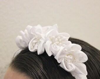 White Satin Floral Headband / Headpiece / Bridal / Flower Girl / Bachelorette / Communion