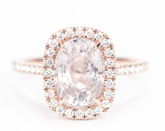 CERTIFIED - GIA Certified Oval Light Peach Pink Sapphire & Diamond Halo Engagement Ring 14K Rose Gold