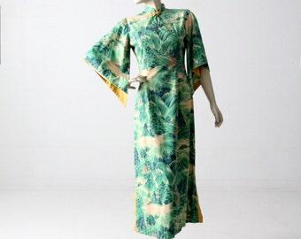 1950s Hale Hawaii dress, green tropical floral maxi dress
