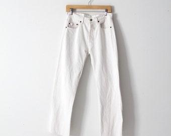 white Levis 501 jeans, vintage high waist denim jeans 31 x 29