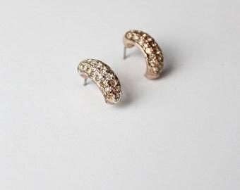 FREE SHIP  vintage rhinestone half hoop earrings, Roman earrings, costume jewelry