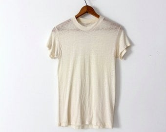 1970s thin plain t-shirt, vintage medium tee