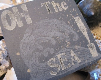 "OH The SEA! Original Hand Painted Weathered Sea Shingle 6"" x 6"" Art Panel Gray Blue & Cream Antique Fonts Hand Carved Wave For Sea LOVER"