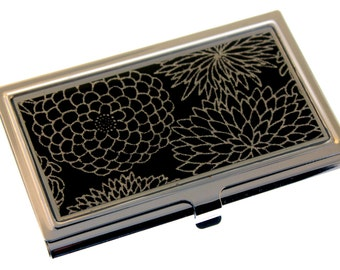 Silver Mums on Black Chiyogami.  Business card case. Gift card holder