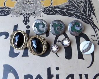 Art Deco  Art Nouveau  Vintage Antique 1900 old French set of 8  buttons