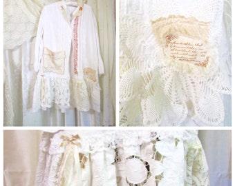 Shabby Linen Tunic, upcycled white ivory lagenlook linen shirt, lace doily hem, artist smock large pocket, altered clothing, XL LARGE