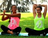 Monogram Tank Top Exercise Workout Neon Colors - Tank top Bright colors