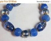ON SALE Royal Blue Gypsy Glass and Blue Jade Bracelet