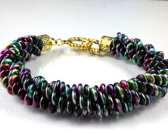 Czech Lentil Beaded Kumihimo Bracelet - Rainbow Colors - Mardi Gras - Marea Peacock