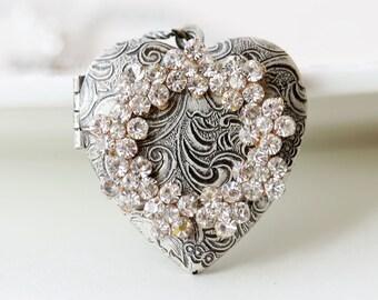 Silver Heart Locket Necklace,Jewelry,Pendant, Rhinestone Flowers Locket,Silver Locket,Antique Style,Wedding Necklace,bridesmaid