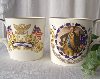 Vintage Aynsley George Washington Coffee Cups Set Of Two 1776-1976 United States Of America Bicentennial Celebration