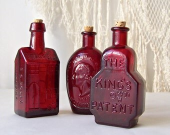 Vintage Ruby Red Glass Bottles Wheaton Glass Co. Bottle Collector Circa 1970s