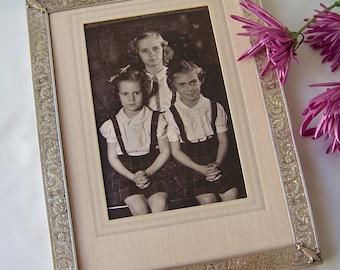 Vintage Picture Frame Portrait Frame Silver Washed Brass Frame Mid Century 1950s