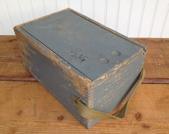 Vintage Dovetail Box with Sliding Lid and Canvas Handle - Shabby, Chippy Gray