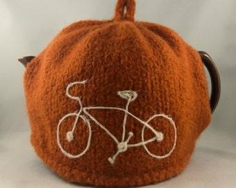 Felted Wool Tea Cosy orange bicycle tea cozy 6 cup size bike tea pot cozy for cyclist