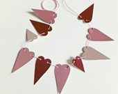 RESERVED FOR M - Mini heart bunting, Small pink garland, heart garland, workspace decor, pink bunting, mini garland, recycled banner
