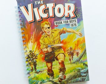 SALE Comic notebook,  VICTOR Journal, Up-cycled Boy's Annual, 1980, 1976, Comics, Eco-friendly Sketchbook