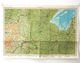 Fenland Map. Vintage Map of Fenland, England.  English map. Home Decor. Office Decor. Large Map. Father's Day gift, gift for guys