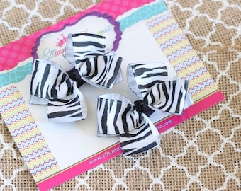 Baby Bows, Toddler Bows, Girls Hair Bows, Boutique Hair Bow, Hair Clip, Black White Bows, Zebra Pigtail Bows, Zebra Piggy Set, 2.5 Inch Bows