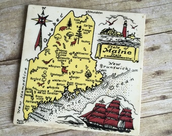 Vintage Sate of Maine Trivet - Ceramic Tile