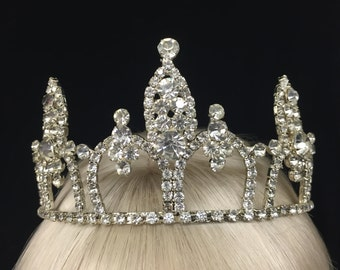 Vintage Royal Queen Rhinestone Tiara! Wear for weddings, proms, sweet 16's,  quinceaneras, queen or princess costume!