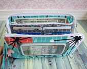 cell phone wallet, iPhone wristlet, zip around wallet, Super Mega Touch Screen Wallet, atomic mod, turquoise