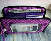 cell phone wallet case, cell phone wristlet, iphone, zip around wallet, wristlet, Super Mega Touch Screen Wallet, purple ikat