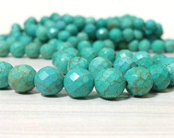 8 mm. Stabilized Turquoise Faceted Round Beads - Full Strand 15 inches (G2632W20Q5)