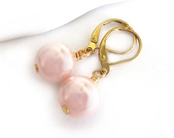 Blush Pink Glass Pearl Gold Lever Back Earrings
