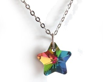 Rainbow Electroplated Star Silver Necklace