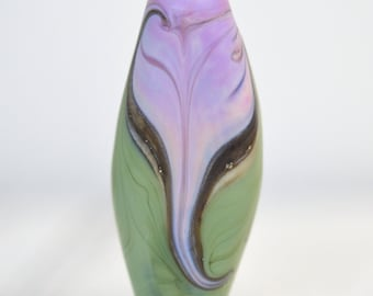 sage green and pinkish lavender 40x16x8.5mm hand-shaped flat marquise lampwork focal bead SRA handmade for making jewelry 20916-6