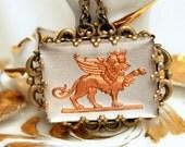 Gryphon Griffen Necklace - Vintage Glass Reverse Carved Intaglio - Fantasy Fairytale Pendant