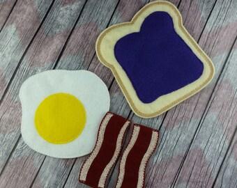 Felt food breakfast set, eggs and bacon, toast, waffle, pancake