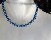Vibrant medium/dark blue fresh water pearls necklace