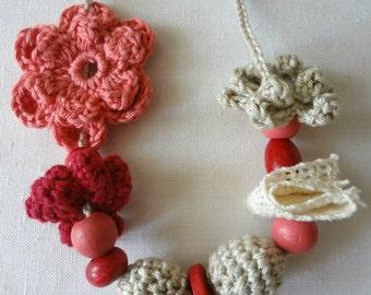 Little Miss Crochet Jewelry Kit - crochet necklace, girls necklace,flowers,flower set,crochet jewelry, flower necklace,crochet accessories