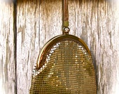Vintage 1930s Whiting Davis GOLD MESH Evening Finger or Wristlet Purse