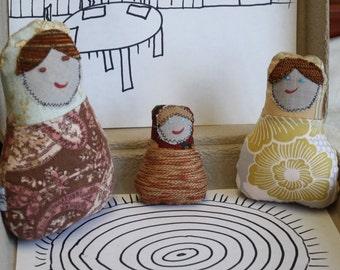 Eco Friendly, Upcycled Matryoshka Fabric Nesting Dolls, set of 3