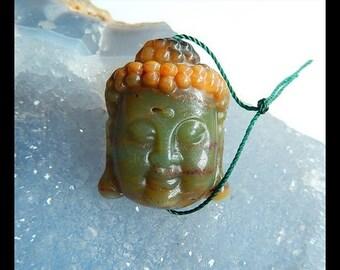 Carved Amazonite Buddha Head Pendant Bead,32x24x10mm,11.54g