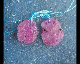 Nugget Ruby  Gemstone Earring Beads,19x14x4mm,4.0g