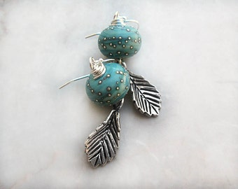 Teal Blue Earrings, Sterling Silver Earrings, Leaf Earrings, Lampwork Earrings