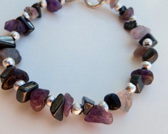 CHiPS of Amethyst and Hematite stone bracelet