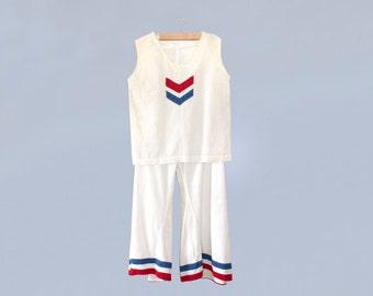 Reserved --RARE!! 1930s Beach Pajamas /  30s Cotton Linen Two Piece Pants and Blouse Set / Wide Leg / Stripes / Chevron / Sailor Set