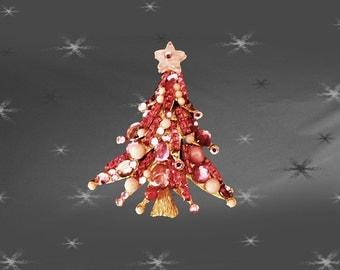 Pink Christmas Tree Pin - One of a Kind Xmas Tree Brooch - CIJ Holiday Jewelry