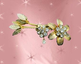 Vintage Vendome Brooch - 50s Costume Jewelry - 1950s Rhinestone Pin found Altered