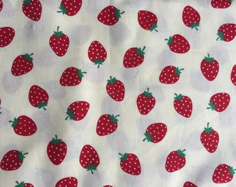 Strawberry Half yard cream yellow colour fabric