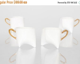 SALE Coffee cups set of four- unique coffee mug or tea cup white with gold, contemporary ceramic cup handmade by Endesign